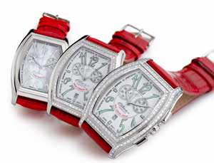 """The Perfect Gift for Valentine's Day: Time Jewel"" Elini® New Yorker in Pink or Red with diamonds"