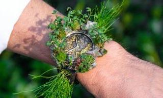 H. Moser & Cie Nature watch covered in live plants