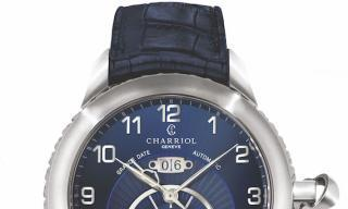 Charriol's Grande Date GMT in striking ocean blue