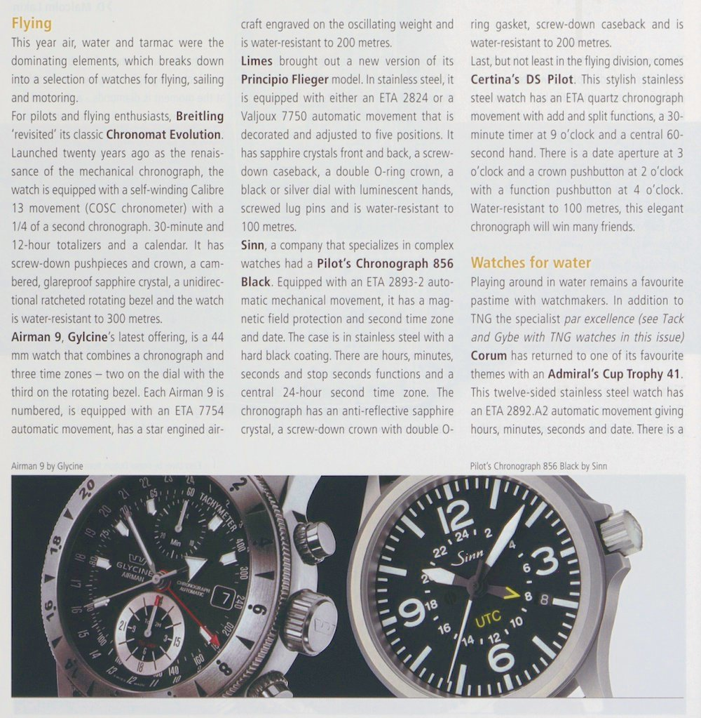 The Pilot's Chronograph 856 Black, in a Europa Star report about instrument watches.