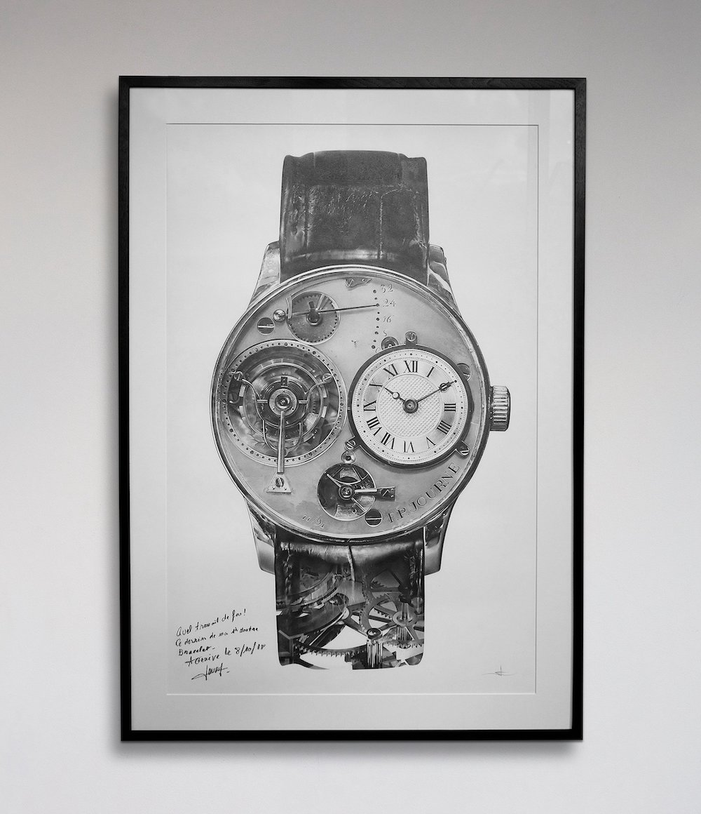 This illustration by artist Julie Kraulis, featuring François-Paul Journe's first watch, was sold by A Collected Man to support research into Covid-19.