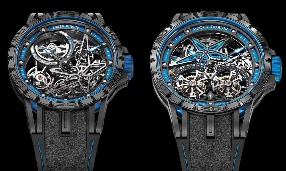 Roger Dubuis Excalibur Spider Pirelli Double tourbillon volant and Excalibur Spider Squelette Automatique