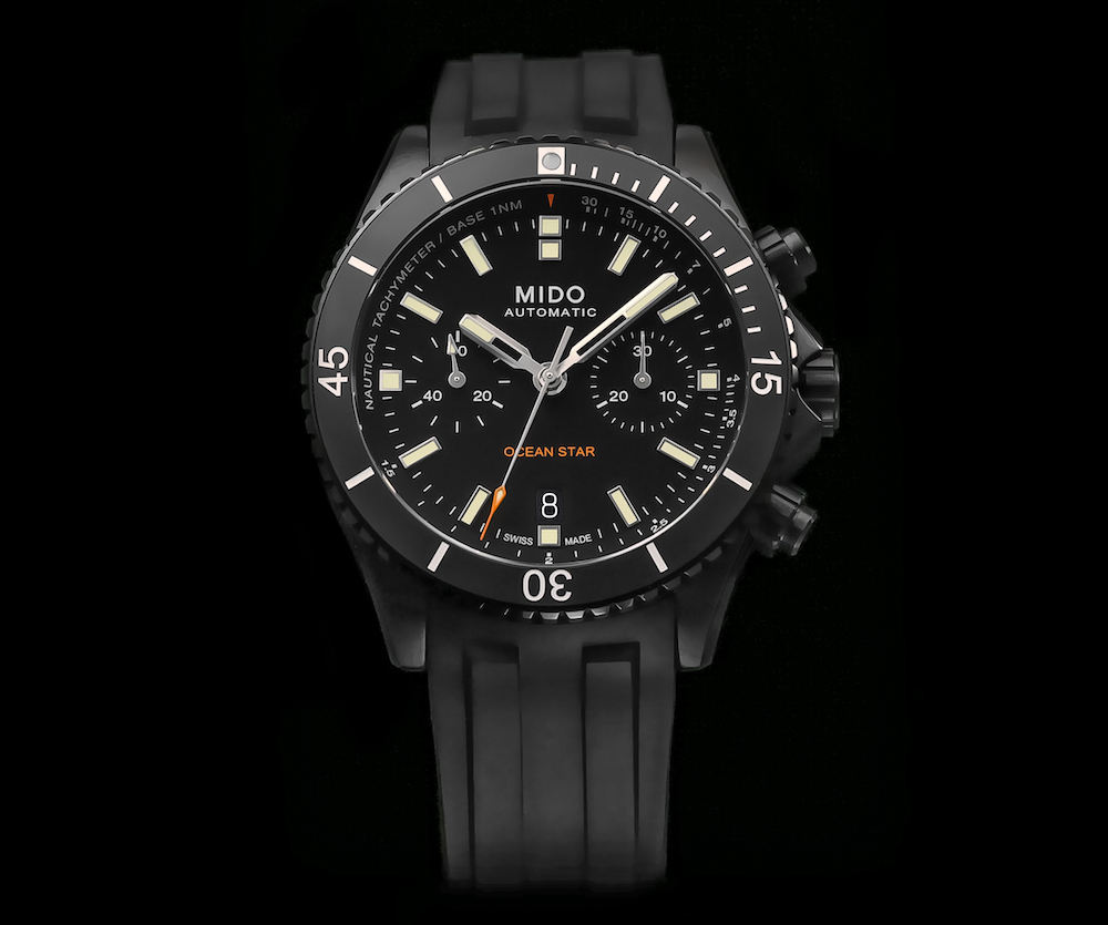 The Ocean Star model comes in a chronograph version for the first time this year. Mido's automatic Calibre 60 is housed in a black DLC-treated stainless steel case. The screw-down case back reveals a polished starfish relief.