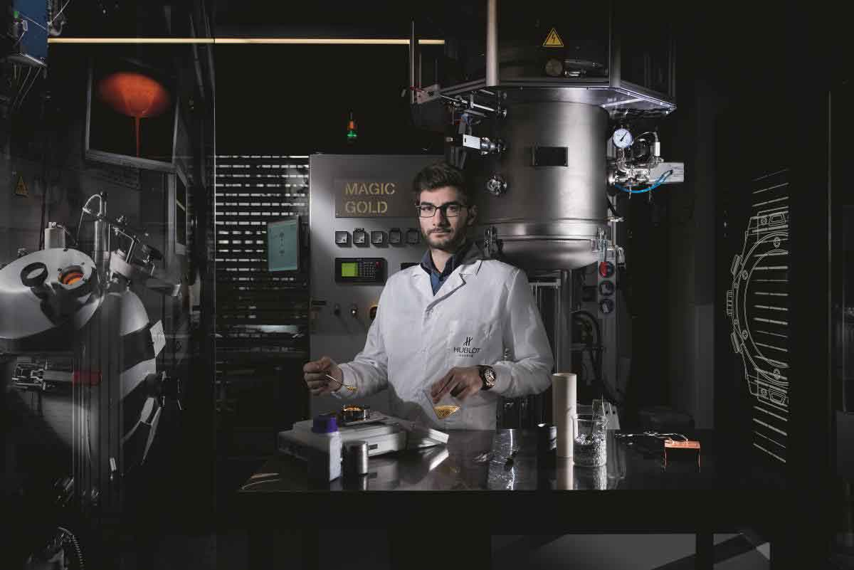 A researcher at the dedicated Magic Gold laboratory of the Hublot manufacture in Nyon, Switzerland