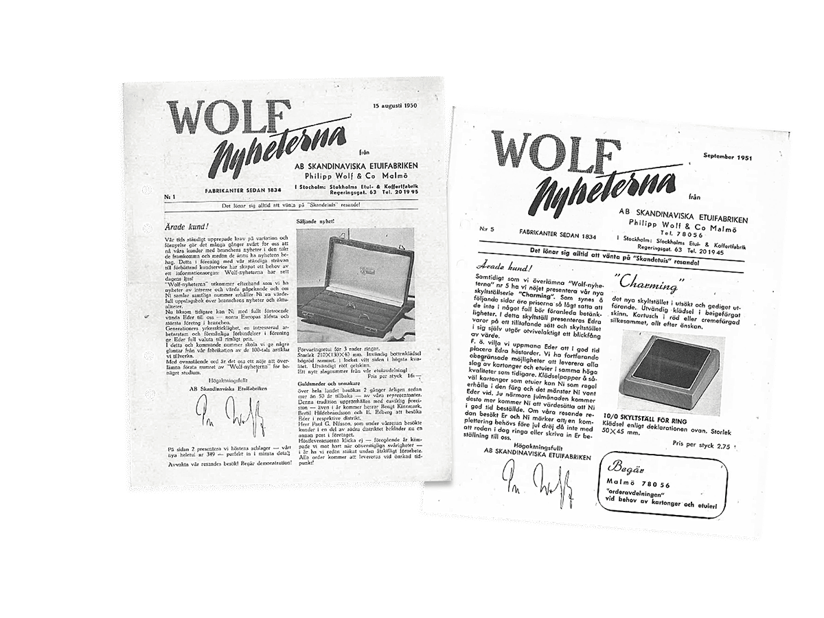 Wolf promotional catalogues in Swedish, dating from 1950.