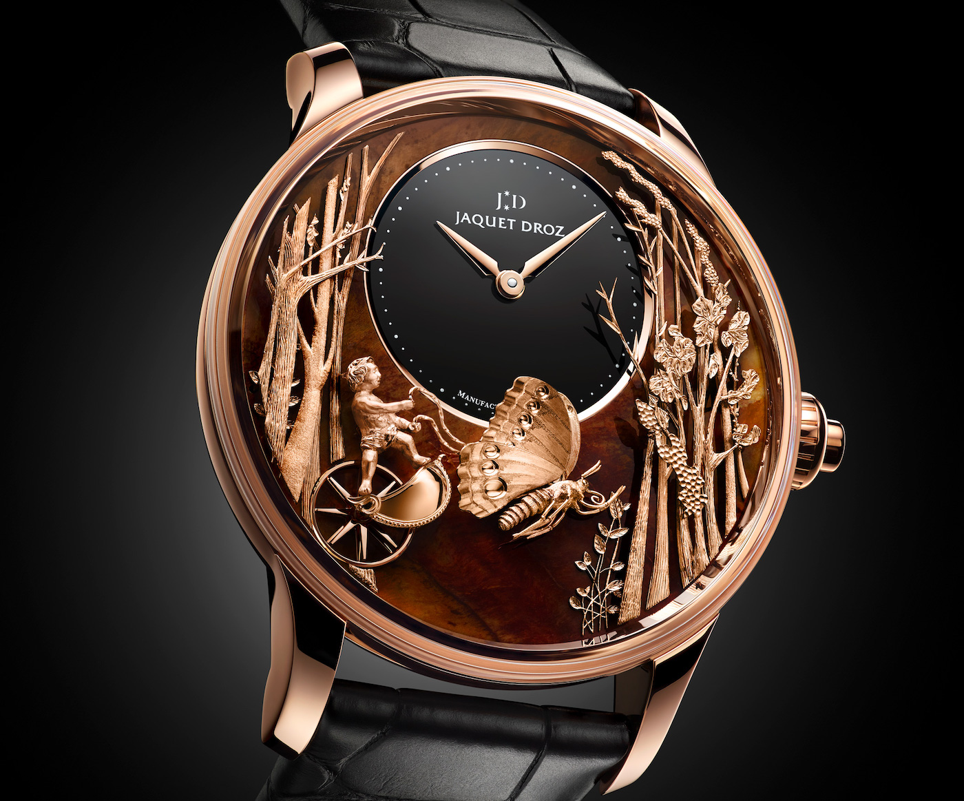 After the success of the onyx and meteorite variants, Jaquet Droz launched a new version of its Loving Butterfly Automaton this year. The dial is made of a wood petrified 140 to 180 million years ago called Chinchilla Red. The animated objet d'art is inspired by a drawing entitled Butterfly Driven by Love, which was sketched in 1774 by The Draughtsman, an automaton created by Henri-Louis Jaquet-Droz (see cover image of the article).