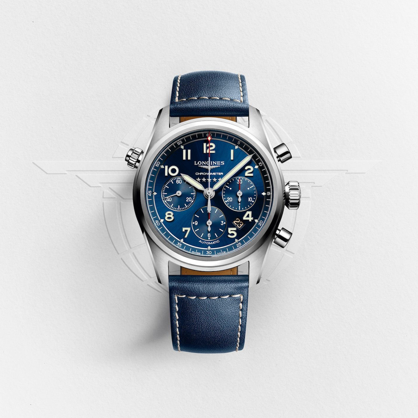 The Longines Spirit ref. L3.820.4.93.0 (42 mm) houses a COSC-certified column-wheel chronograph movement (L688.4) with silicon hairspring.