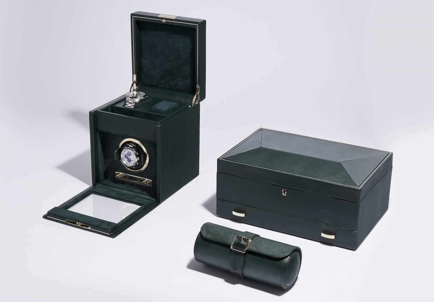 The new British Racing Green collection of watch winders, boxes and rolls.
