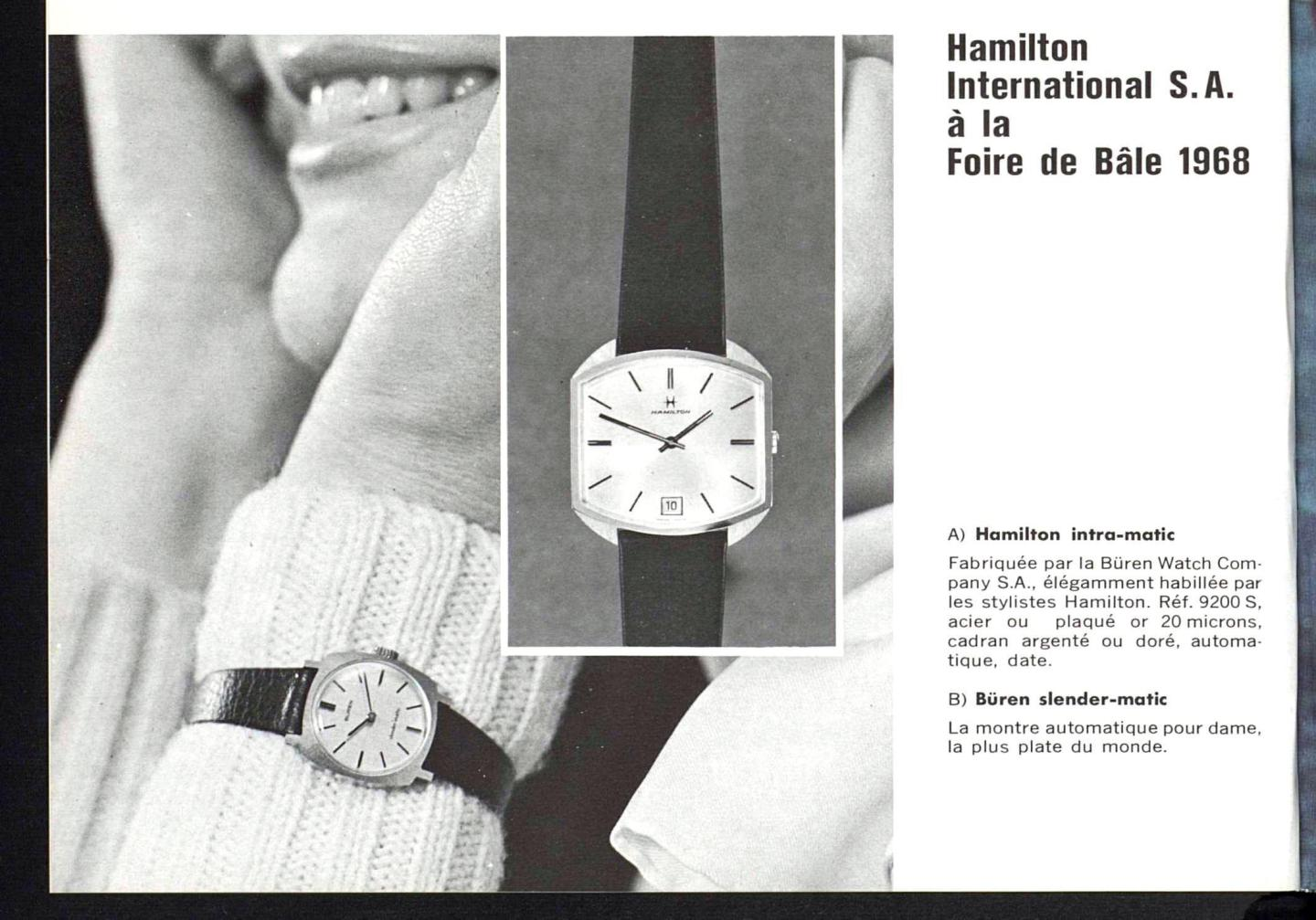 The Hamilton Intra-Matic collection at the Basel Fair in 1968. Published in Europa Star Magazine 4/1968.