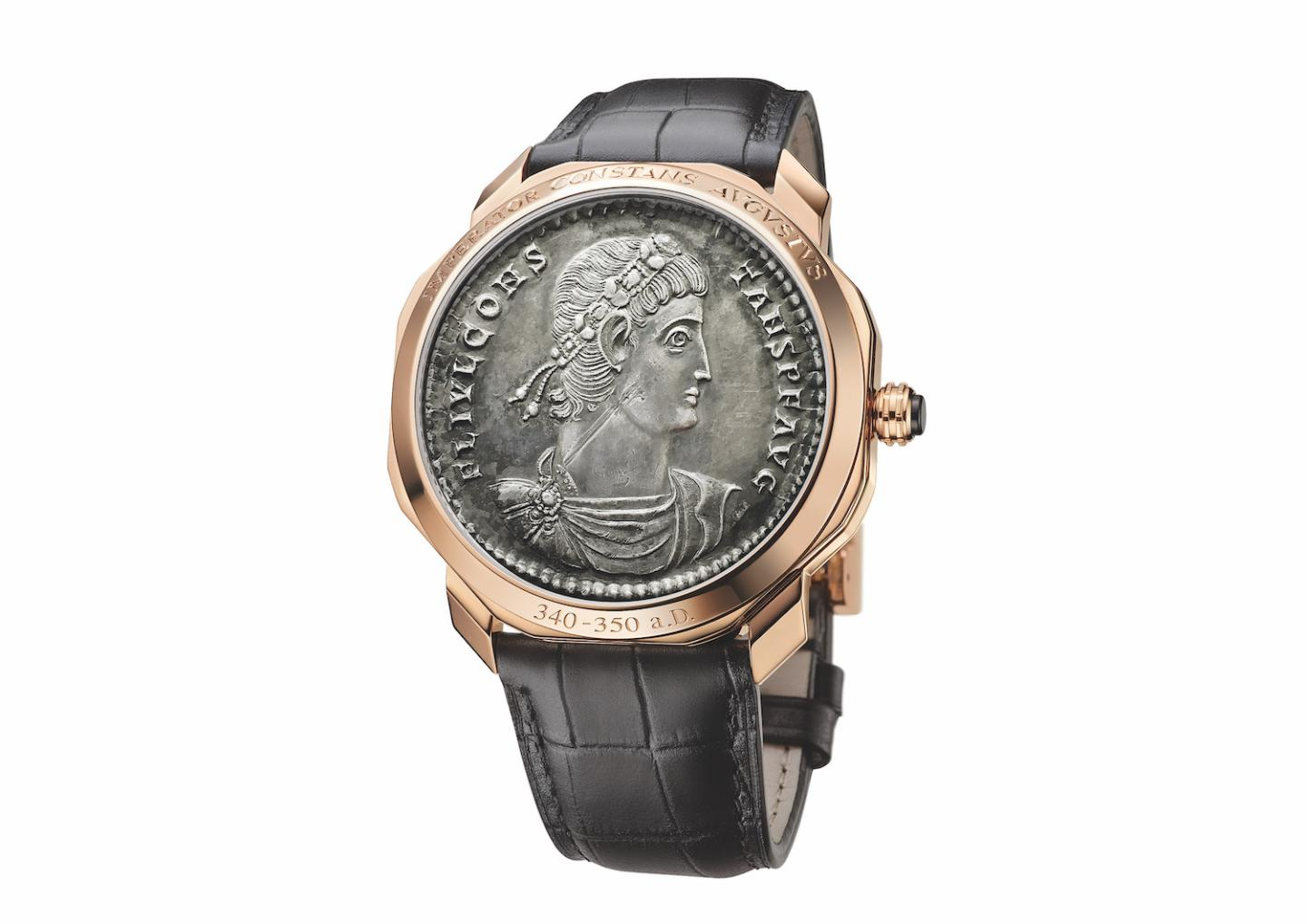 This Octo Roma Monete with an extra-thin skeleton movement comes in rose gold and is fitted with an ultra-rare 4th century Roman coin on its face.