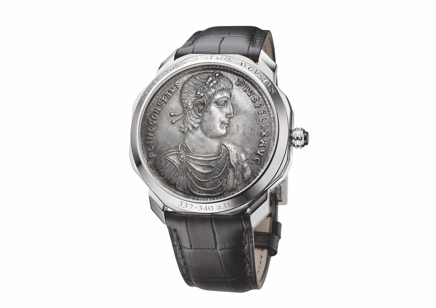 Another Octo Roma Monete, in platinum, features a different coin that also depicts the Emperor Constans.