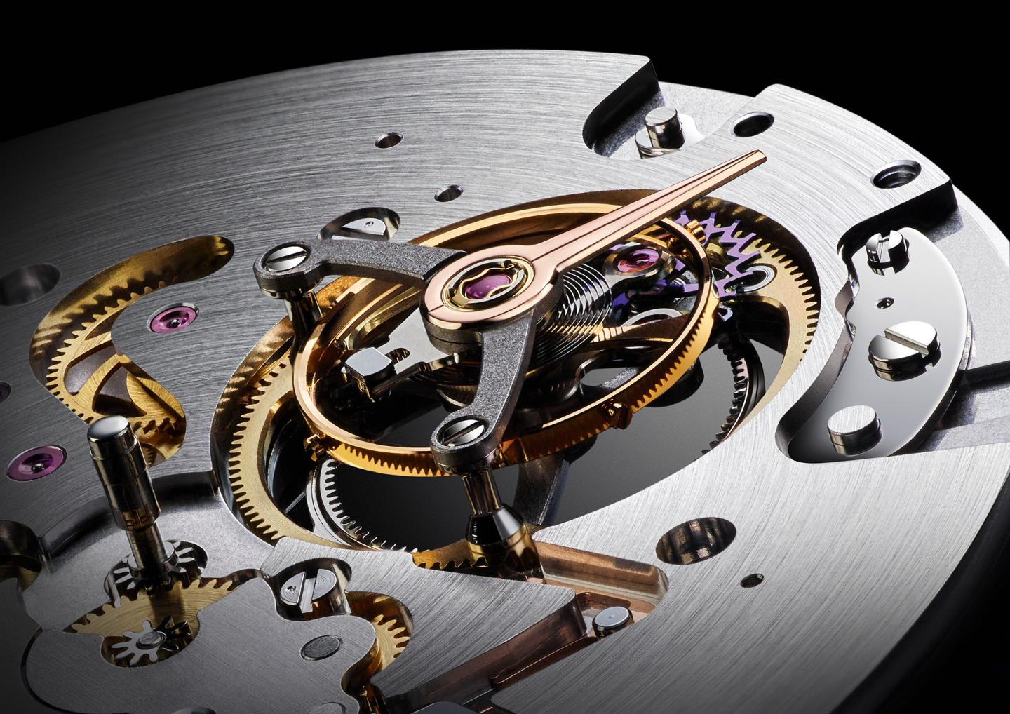 Close-up of the highly innovative CFB T3000 movement with its suspended tourbillon