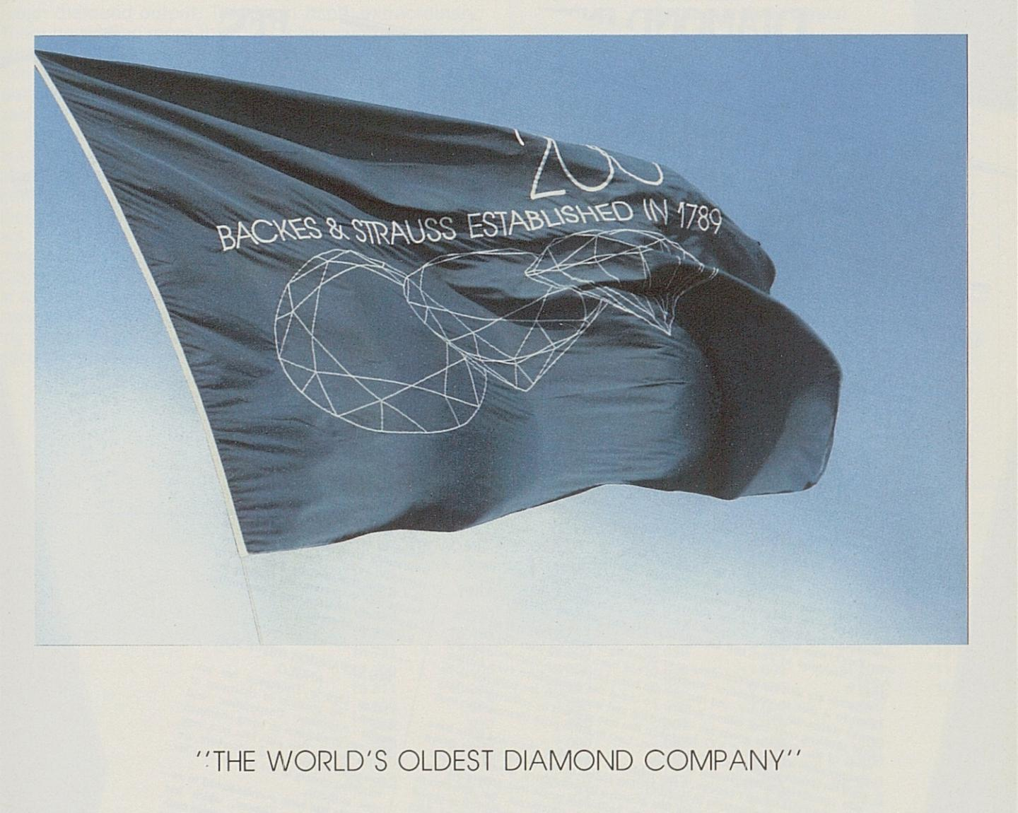 """The world's oldest diamond company"": an advertisement by Backes & Strauss in Europa Star from 1990."