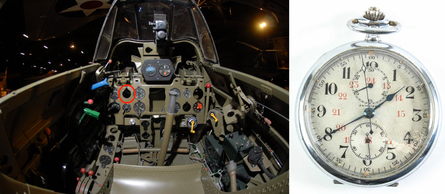 The Zero cockpit featuring a small aperture to fix a pocket watch chronograph similar to this one