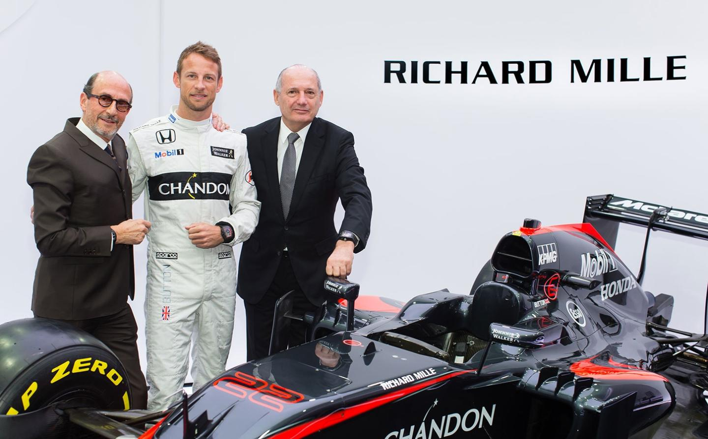 Richard Mille, Jenson Button and McLaren CEO Ron Dennis announcing the 2 brands' 10-year partnership.