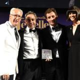 Bremont co-founders Giles and Nick English (centre) pick up their awards