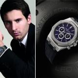 "Left: Leo Messi wearing his ""Royal Oak Chronograph Leo Messi"" - Right: The Limited Edition Royal Oak"