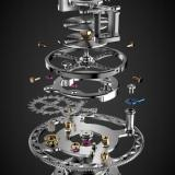 The movement driving the Osmior Tourbillon is produced by the Manufacture Horlogère de la Vallée de Joux (MHVJ)