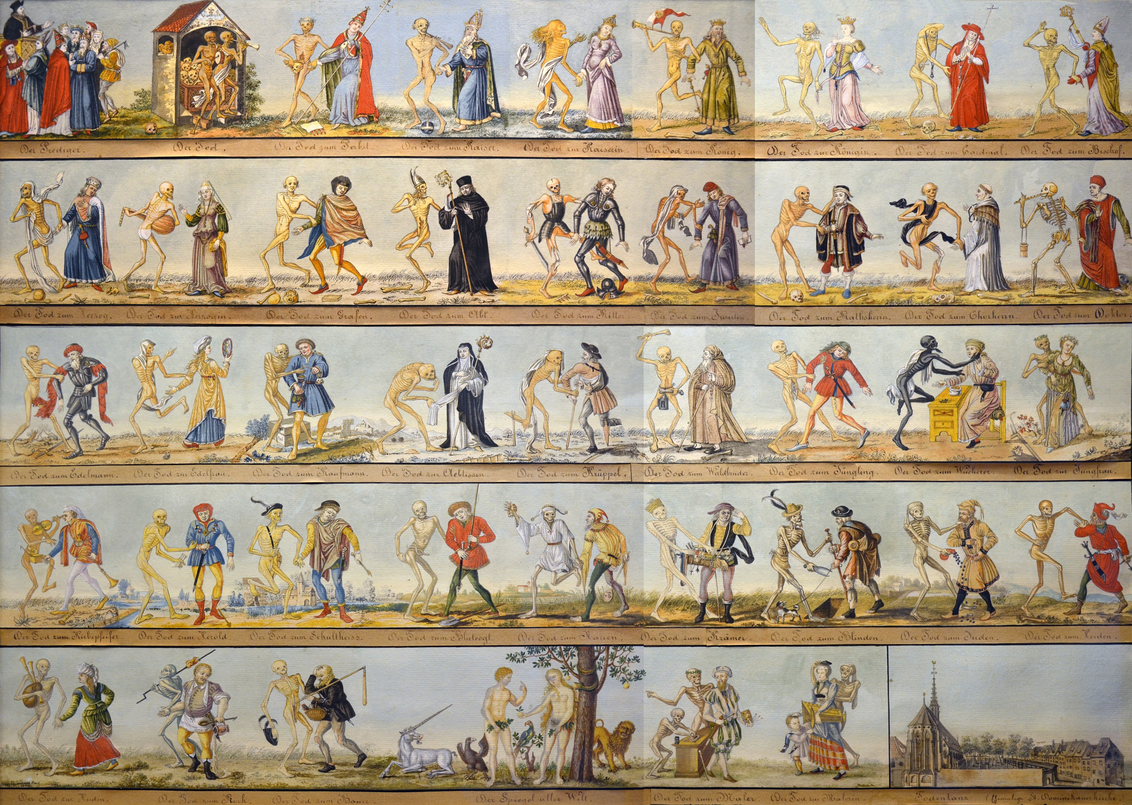Reproduction on watercolour (1806) of the Dance of the Death of Basel, painted in 1440