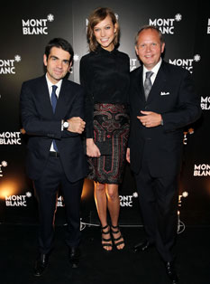 CEO at Montblanc Jerome Lambert, model Karlie Kloss and President & CEO at Montblanc North America Jan-Patrick Schmitz