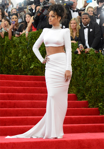 Rhianna wearing a Stella McCartney dress and Jacob & Co jewellery at the MET Gala 2014