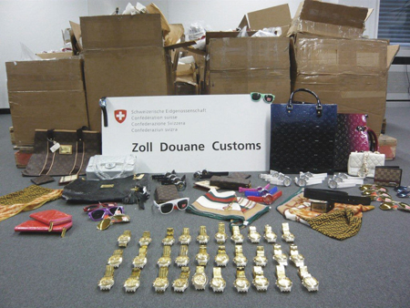Swiss Customs display the counterfeit products they have recently seized