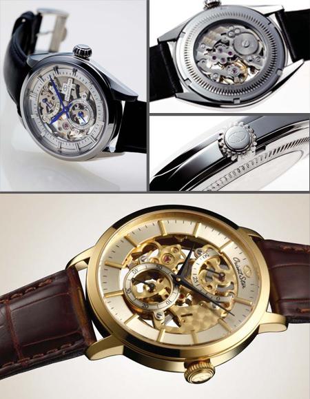 Above: Orient Star Skeleton - Below: Orient Star Vintage Skeleton. часы Ориент Vintage Power Reserve
