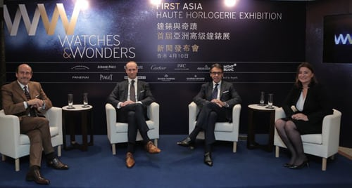 (From left to right) Richard Mille, CEO of Richard Mille, David von Gunten, CEO Audemars Piguet (Hong Kong), Alain Li, CEO Richemont Asia Pacific and Fabienne Lupo, Chairwoman & Managing Director FHH