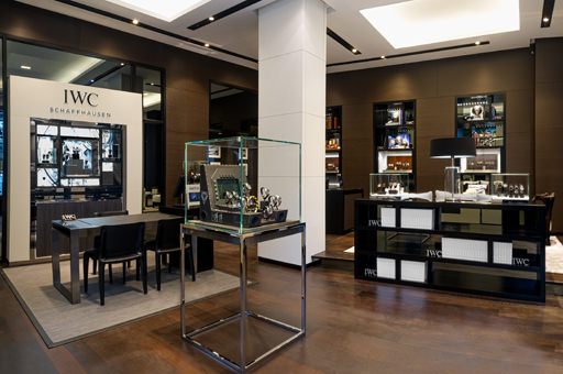 The interior of the IWC store at Bahnhofstrasse 61, Zurich