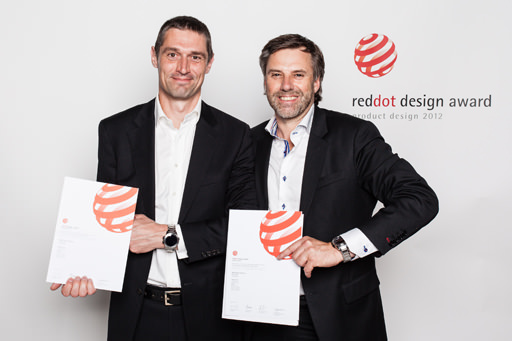 Halda designer Andreas Lundquist, left and CEO Mikael Sandström, right, with the brand's award