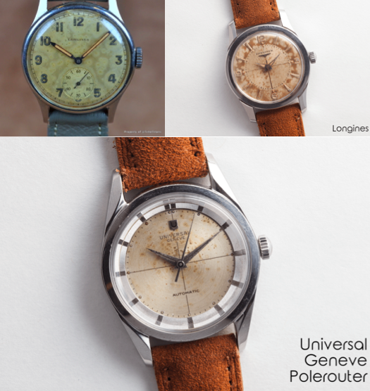 Examples rotten dials – the Longines is retailing for 2'350 USD