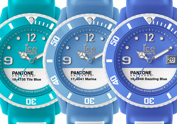 PANTONE UNIVERSETM TILE BLUE, MARINE and DAZZLING BLUE by Ice-Watch