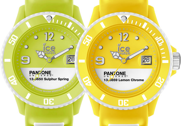 PANTONE UNIVERSETM SULPHUR SPRING and LEMON CHROME by Ice-Watch