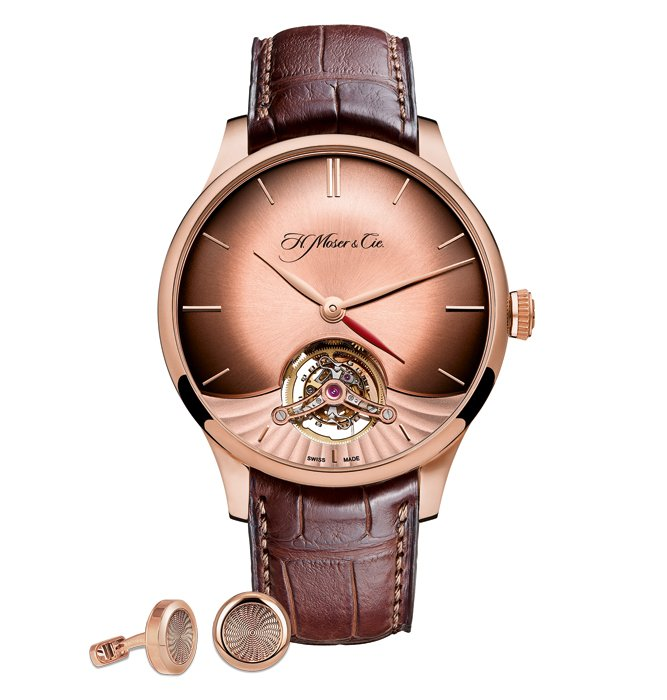 VENTURER TOURBILLON DUAL TIME by H. Moser & Cie + Rose gold cufflinks set by Jacob & Co.