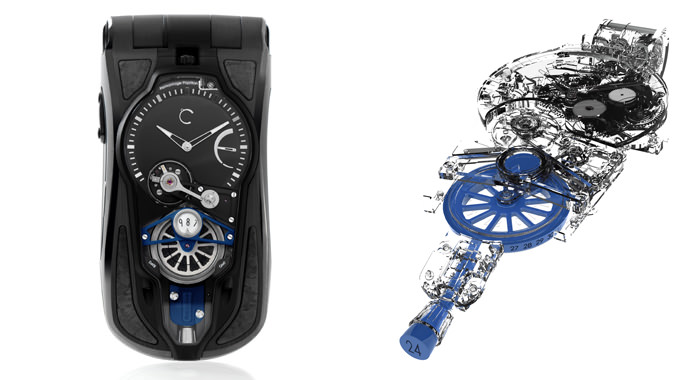 Left: OptiC GMT Véloce by Celsius X VI II - Right: Movement