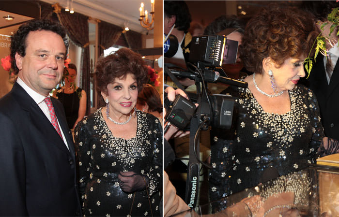 Left: Gina Lollobrigida and David Bennett, Chairman of Sotheby's Switzerland - Right: Gina Lollobrigida views her jewels on display