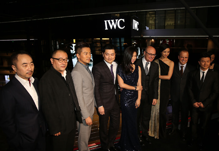 (L to R) Artist Wang Lu Yan, flim director Wang Xiao Shuai, Actor Alec Su, Managing Director of IWC China Dennis Lee, actress Zhu Zhu, CEO of IWC Georges Kern, actress Tang Wei, Managing Director of IWC Asia Pacific Benoit de Clerck and Olympic gold medalist Chen Yibing pose for photographs during the IWC Flagship Boutique Opening