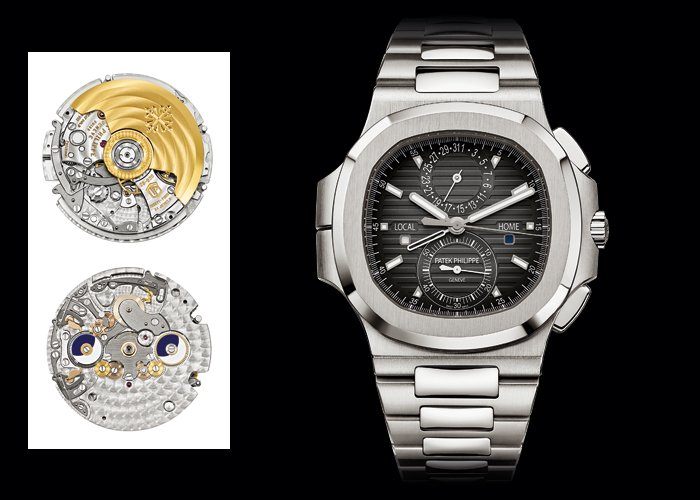 Left: MVT CH 28 250 C FUS - Right: Nautilus Travel Time Chronograph by Patek Philippe (ref. 5990/1A)