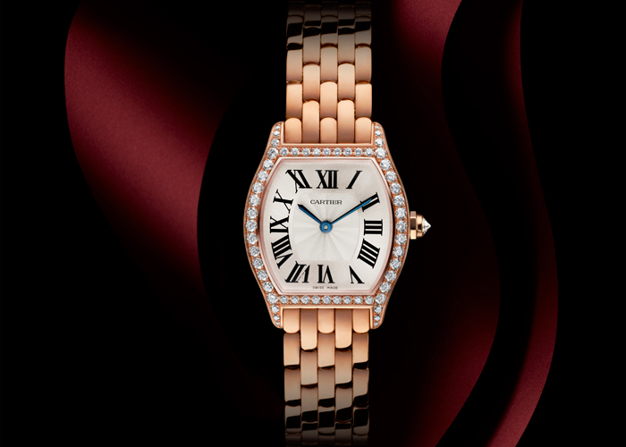 Tortue Watch (small model) in pink gold with diamonds by Cartier