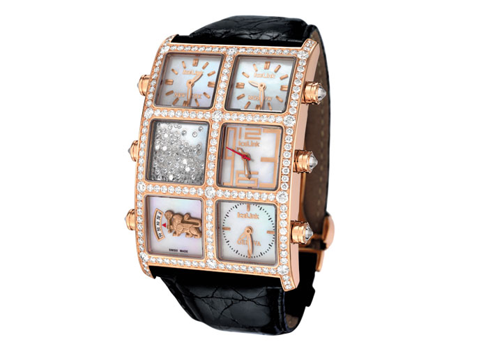 AMFL1RGL: 18K Rose Gold, White Mother-of-Pearl Dial, 6 carats of VS F-G Color Diamonds