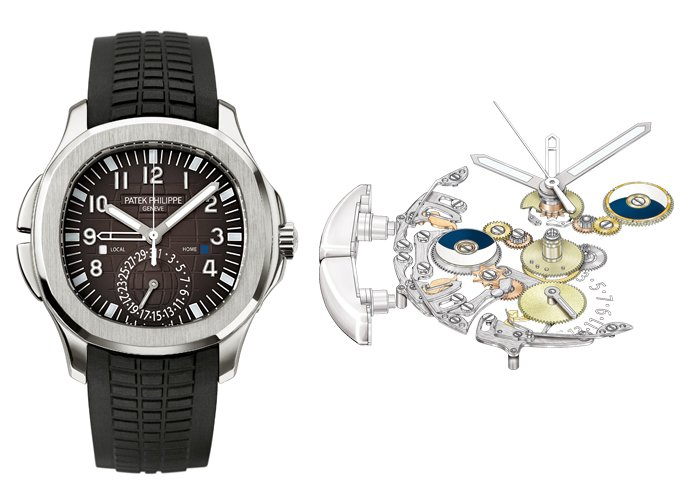 Left: Aquanaut Travel Time (Ref. 5164 A-001 / 2006) - Right: MVT 324 PS FUS 5164, The movement is at the origin of the mechanism that activates the travel time function.