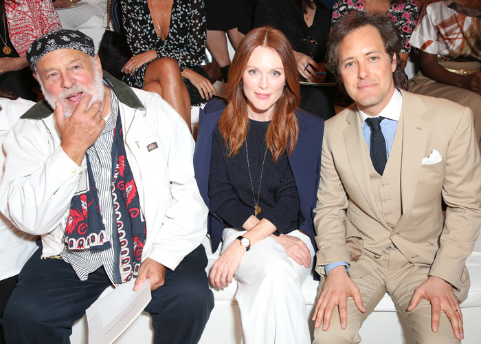 Julianne Moore sitting between Bruce Weber (left) and David Lauren (right)