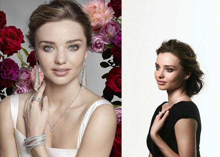Left: Picture from Swarovski's new campaign featuring Miranda Kerr - Right: Miranda Kerr during the shooting with Nick Knight