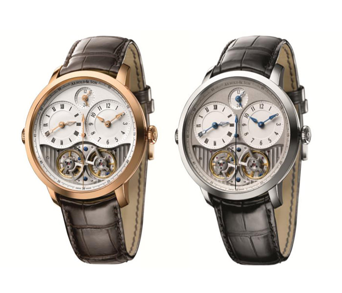 DBG Timepieces - Left: 18-carat rose gold case, silvery-white and silvery opaline dial, case diameter 44 mm, A&S1209 exclusive Arnold & Son mechanical movement, hand-wound © Arnold & Son - Right: Stainless steel case, light-grey and silvery opaline dial, case diameter 44 mm, A&S1209 exclusive Arnold & Son mechanical movement, hand-wound © Arnold & Son