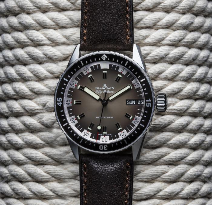 Blancpain Fifty Fathoms Bathyscaphe Day Date in 1970s style