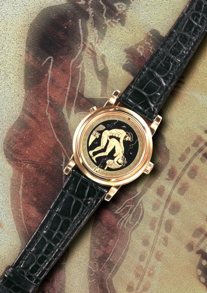 In 1996, an Italian collector asked Svend Andersen if he could make an erotic wristwatch with automata. Since then, Svend Andersen has made more than 170 of them, with between 9 and 11 moving parts.