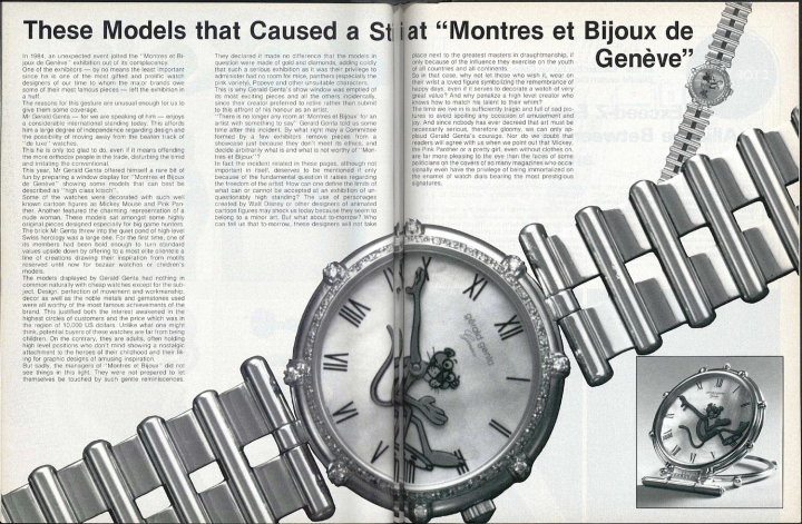 """These models that cause a stir at Montres et Bijoux de Genève"": this article published in 1984 in Europa Star relates the incident that led to Gerald Genta's tempestuous exit from the Geneva watch show."
