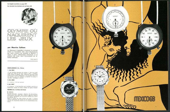 Several Swiss brands launched models dedicated to the 1968 Olympic Games in Mexico City, including Heuer-Leonidas.