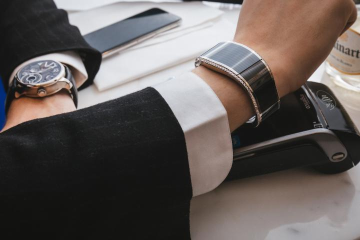 Watchmaking is increasingly connected, from the Tissot T-Touch Connect Solar to the TAG Heuer Connected. Jewellery too, as shown by this example of a contactless payment and access bracelet by luxury brand Armillion.