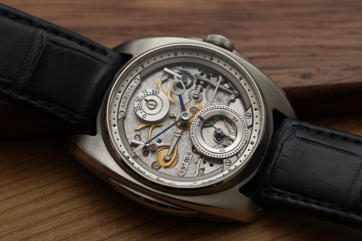 The AK06 with its manual-winding movement created, developed, decorated and assembled in-house.